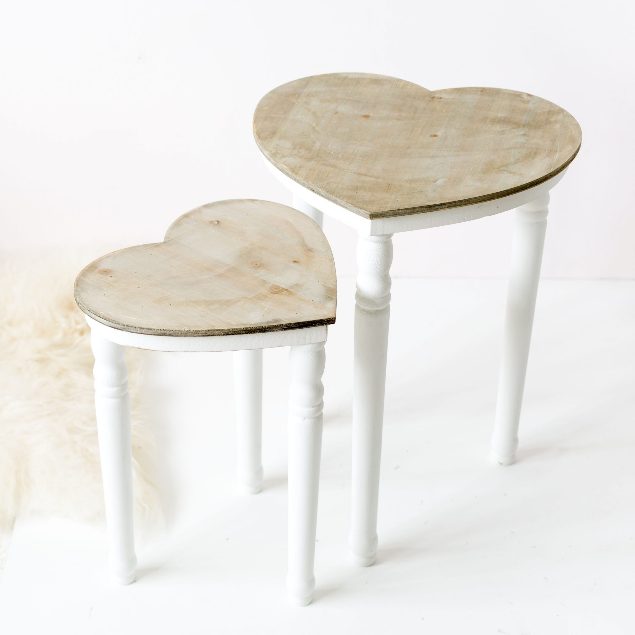 Set of Two Shabby Chic Heart Tables