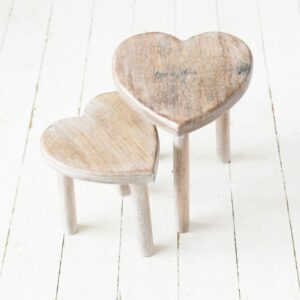 Mango Wood Heart Stools