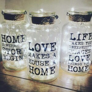 Glass Slogan Jars Set
