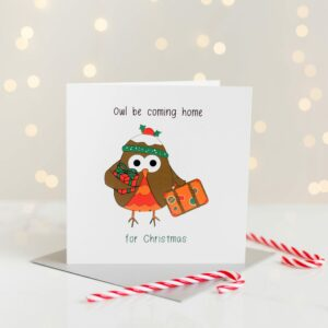 Owl Be Coming Home Christmas Card