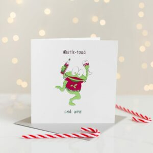 Mistle-Toad And Wine Christmas Card