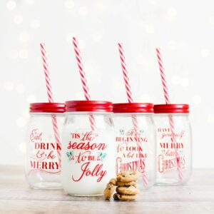 Christmas Mason Drinking Jars