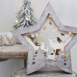 Christmas 3D Reindeer & Tree LED Star