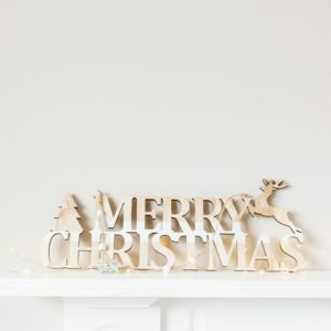 Wooden Laser Cut Merry Christmas Hanging Sign
