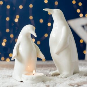 Christmas Set Of Two Ceramic White Penguin Decorations