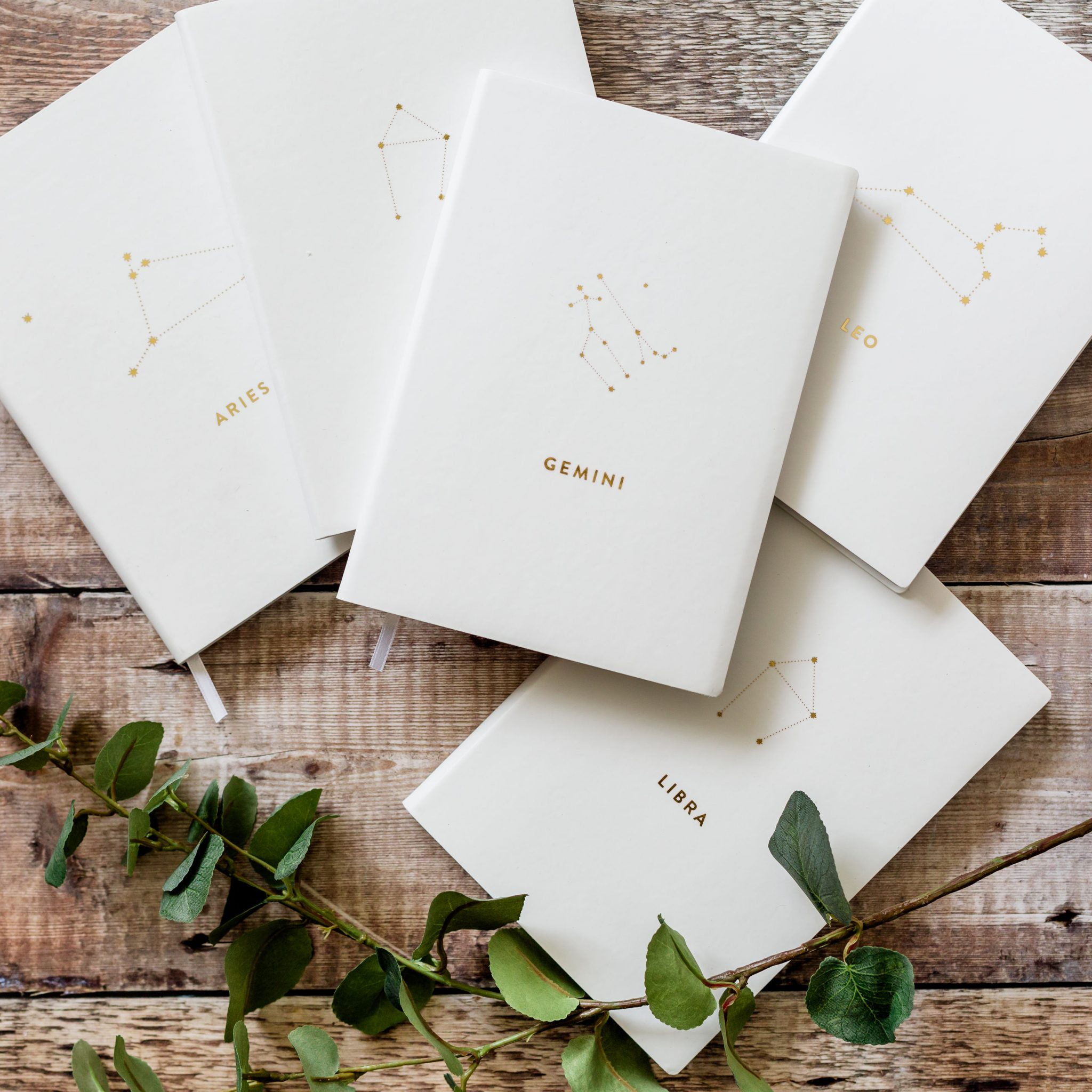 Star Sign White and Metallic Gold Lined Notebook
