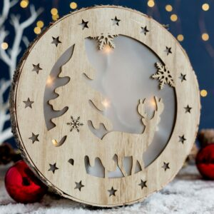 Round Wooden Christmas Reindeer LED Plaque