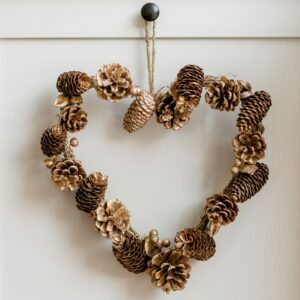 Gold Glitter Heart Christmas Wreath