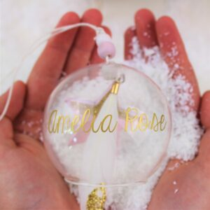 Glass Bauble Pink Star & Feather