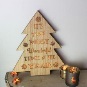 LED Wooden Christmas Tree Plaque
