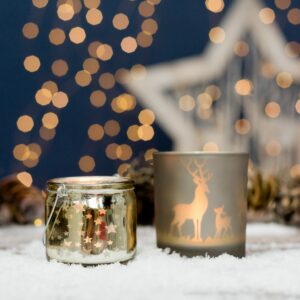 Set Of Two Reindeer & Gold Tealight Holders