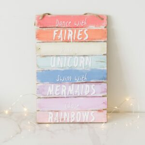 Dance With Fairies Rainbow Hanging Plaque