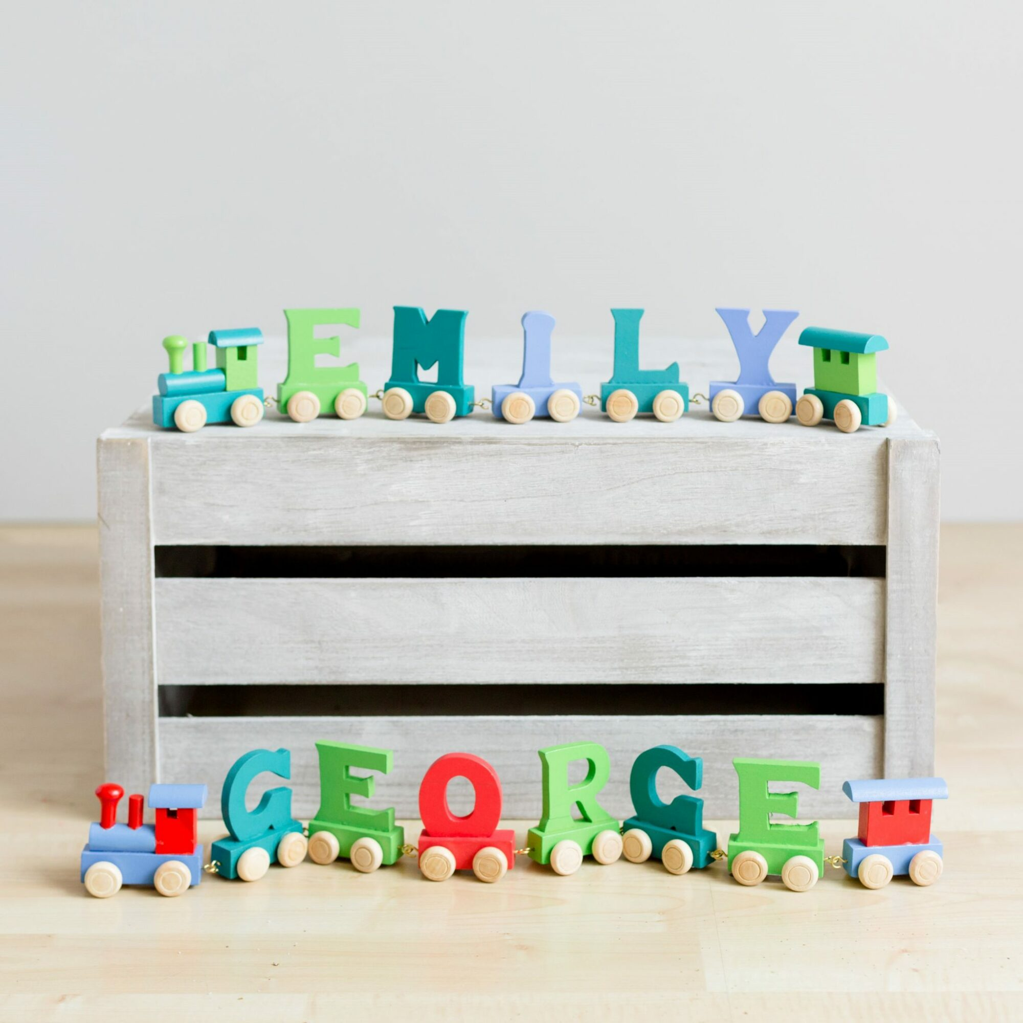 Bright Wooden Letter Train