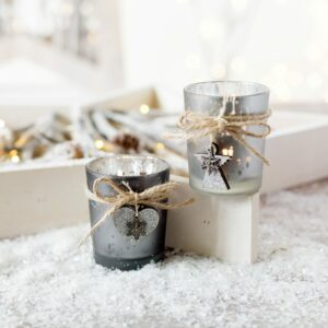 Angel & Heart Christmas Frosted Tealight Holders