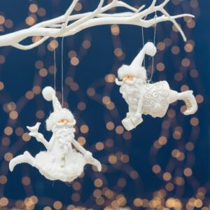 Resin White & Gold Hanging Santa Claus Set of Two