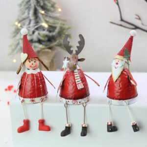 Set of Four Red & White Christmas Winter Shelf Sitters