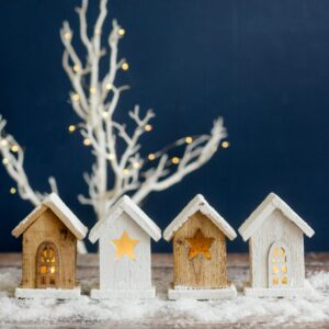 Set of Four LED Wooden Houses