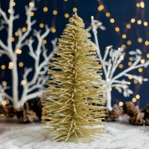 Gold Glitter Willow Christmas Tree Decoration