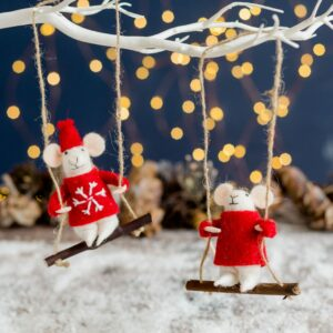 Wool Hanging Mice In Christmas Jumpers