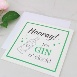 'Hooray! It's Gin O'clock' Foil Card