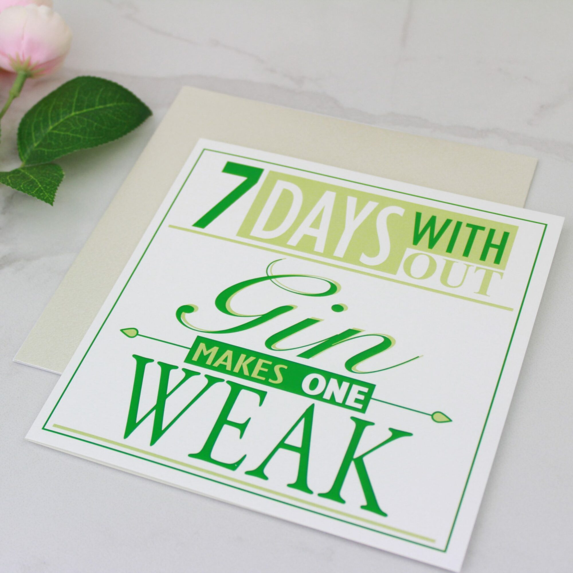 '7 Days Without Gin' Foil Card