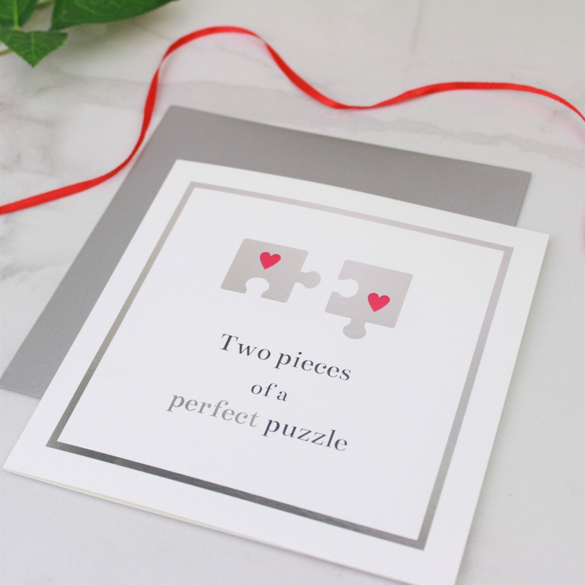 Two Pieces of a Perfect Puzzle Valentines Day Card