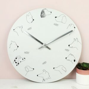 Pet Lovers Dog Face Wall Clock