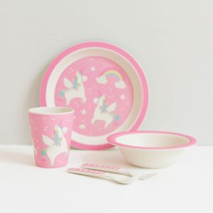 Rainbow Unicorn Bamboo Children's Tableware Set