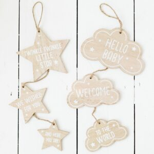 Cloud/Star Baby Triple Hanging Sign