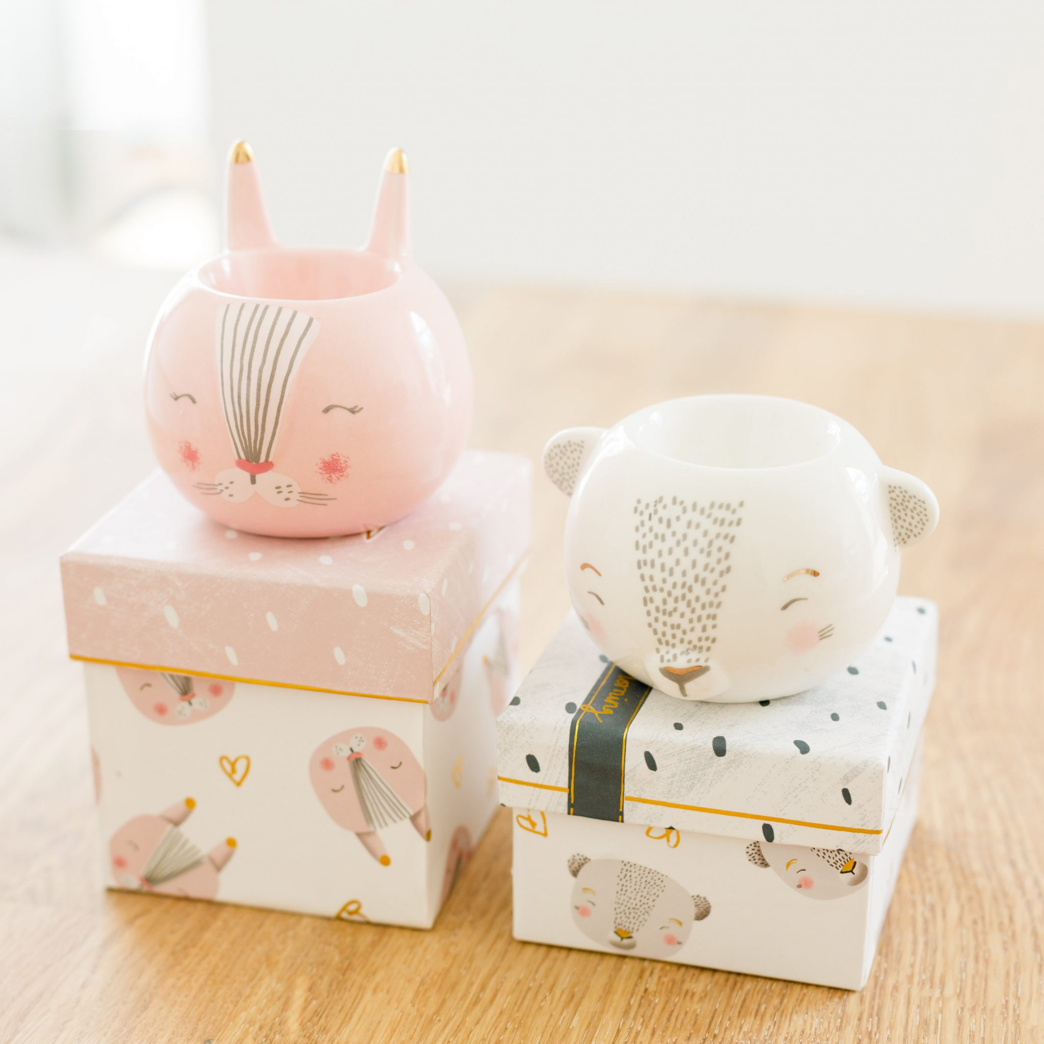 Bunny Amp Bear Egg Cup Assortment With Gift Box Love