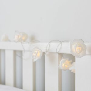 White Rose Battery Fairy Lights Warm White LEDs