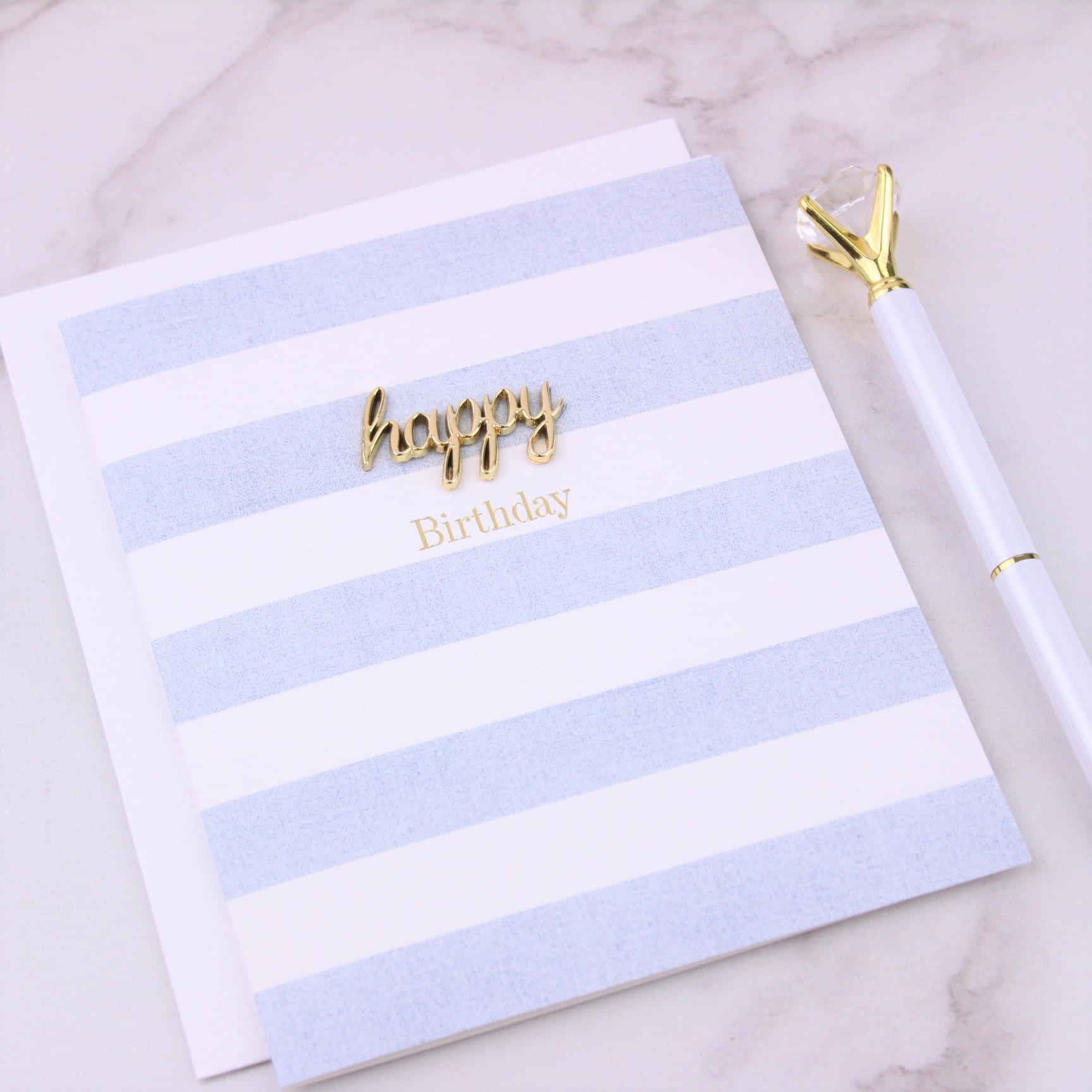 Blue & White Stripy Happy Birthday Card