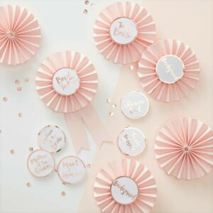 Pink & Rose Gold Team Bride Hen Party Badges