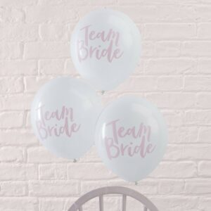 Pink & White Team Bride Hen Party Balloons