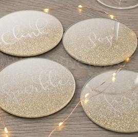 Set of 4 Glass Glitter Champagne Coasters