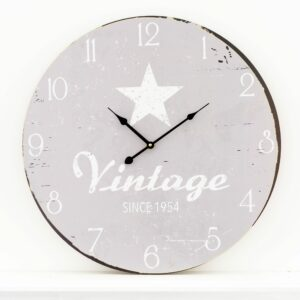 Vintage Star Grey Wooden Wall Clock