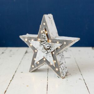 LED Grey Wooden Star
