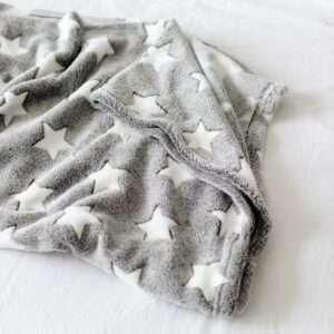Grey Comfort Blanket with White Stars