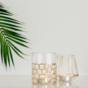 Gold Mesh & Edged Candle Holders