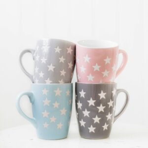4 Coloured Star Stoneware Mugs