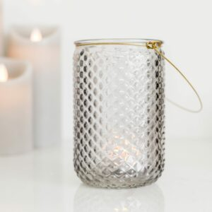 Dimpled Grey Glass Candle Holder