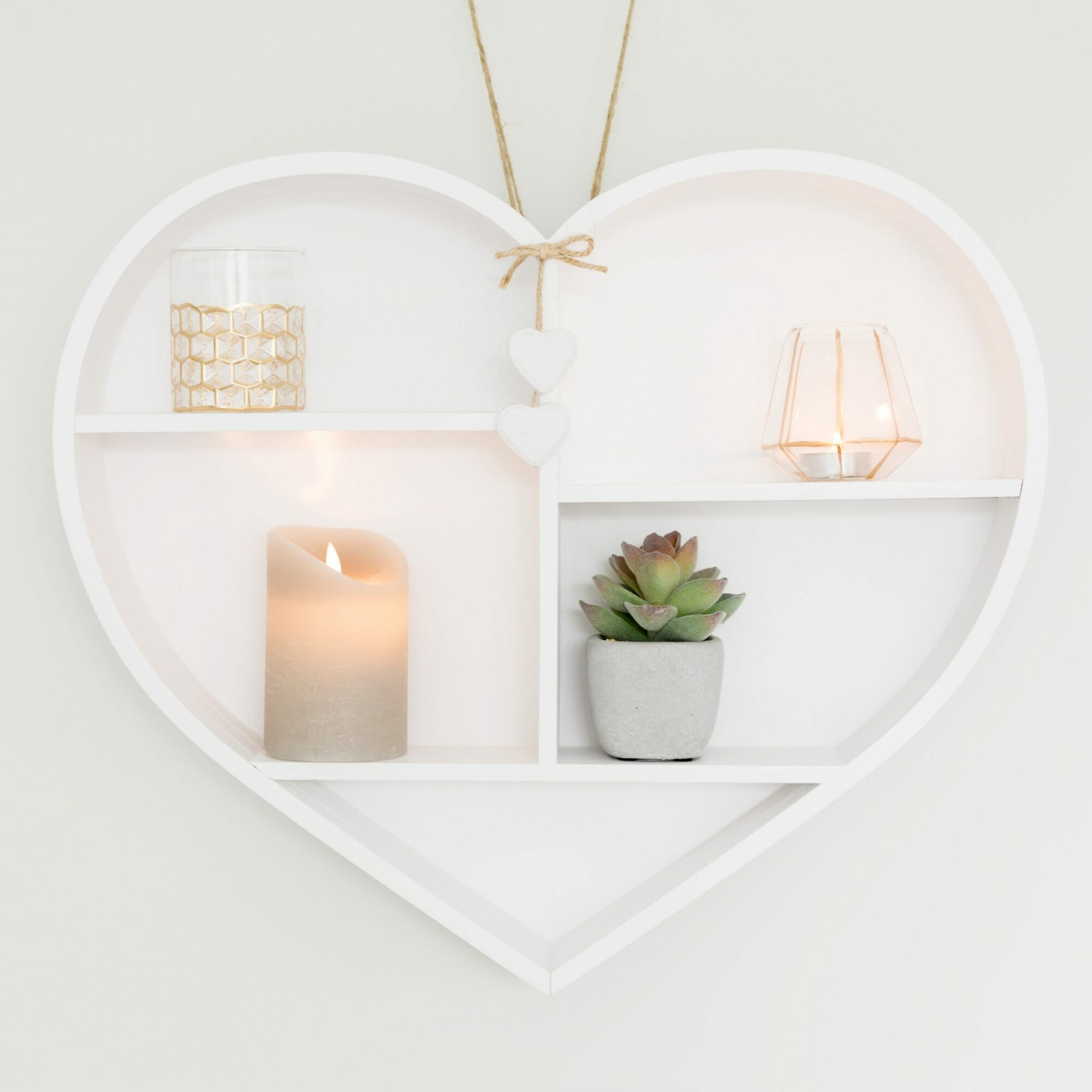 Large Wooden White Heart Shelf