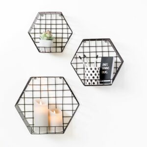 Black Hexagon Wall Mount Unit Cage Baskets