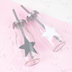 Set of 2 Grey & White Star Glass Drinking Bottles