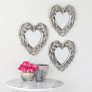 Set of 3 Champagne Heart Mirrors