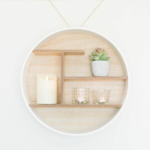 Round White & Wooden Shelf Unit