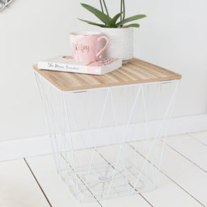 White Geometric Wire Storage Square Side Table - Wooden Effect