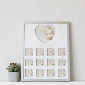 Portrait Sentiments Silver My First Year Baby Photo Frame