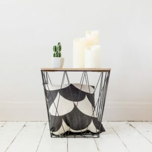 Black Geometric Wire Square Side Table