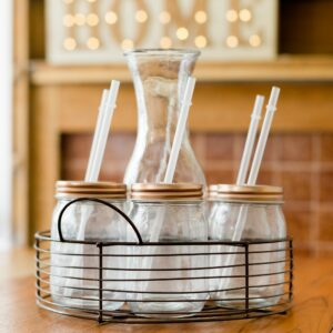 Copper Drinking Mason Jars with Jug & Rack Stand